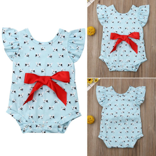Infant Kids Baby Girl Fly Sleeve Cartoon Priting O Neck Romper Casual Jumpsuit Playsuit Outfits Clothes in Bodysuits from Mother Kids