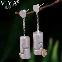 V.YA Vintage 925 Silver Long Drop Earrings for Women Fashion Hollow Out Retro Carved Party Gift Drop Shipping