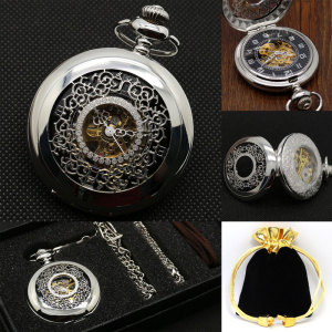 Image 1 - Half Hunter Silver Vintage Mechaincal Hand Wind Pocket Watch Set Fob Chains Best Gift for Men Women