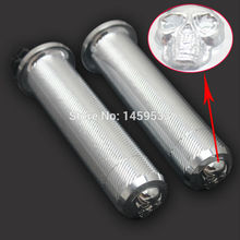 "New Chrome aluminum alloy handles 1 ""handlebars handgrips for Harley Sportster XL 883 Custom Softail Dyna Free Shipping"