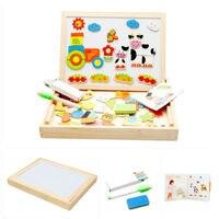 Gospodarstwo Deski Kreślarskiej Magnetyczne Drewniane Zabawki Puzzle Malowanie Tablica Sztalugi Dzieci Jungle Nauka i Edukacja Zabawki Dla dziecka