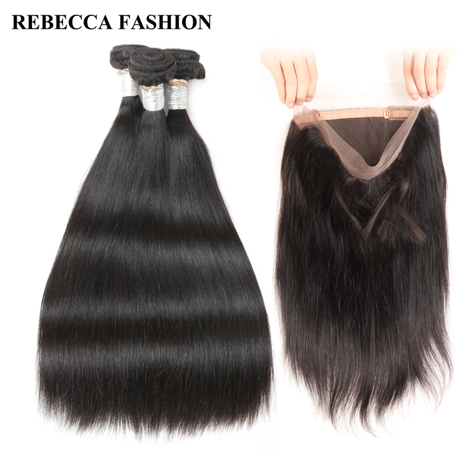Rebecca Remy Human Hair 1 Pack Brazilian Straight hair weave 2 3 bundles with 360 Lace