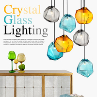 Modern Glass Pendant Light Crystal Colorful Hanglamp LED Nordic Ice Pendant Lamp For Living Room Bedroom Kitchen Dining Room G9