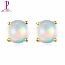цены Lohaspie Solid 10K Yellow Gold Natural Gemstone Opal Engagement Earrings Fine Jewelry For Women's Christmas Gift NEW