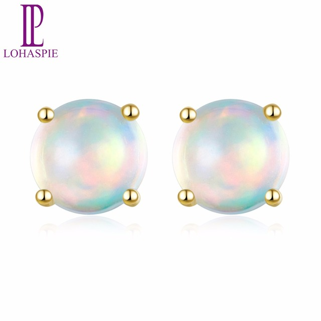 Lohaspie Solid 10K Yellow Gold Natural Gemstone Opal Engagement Earrings Fine Jewelry For Women's Christmas Gift NEW