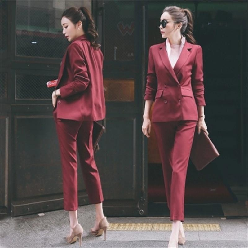 Women Pant Suits New Casual suit female British style temperament lady small suit nine pants two