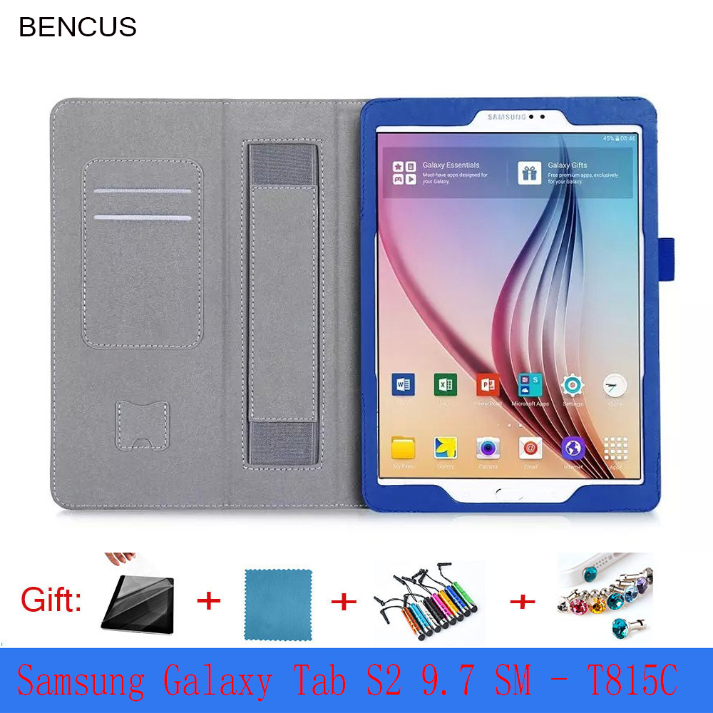 BENCUS High Quality Tab S2 9.7 Smart Case For Samsung Galaxy Tab S2 T810 T815 Magnet Tablet Leather Case +protectors+stylus