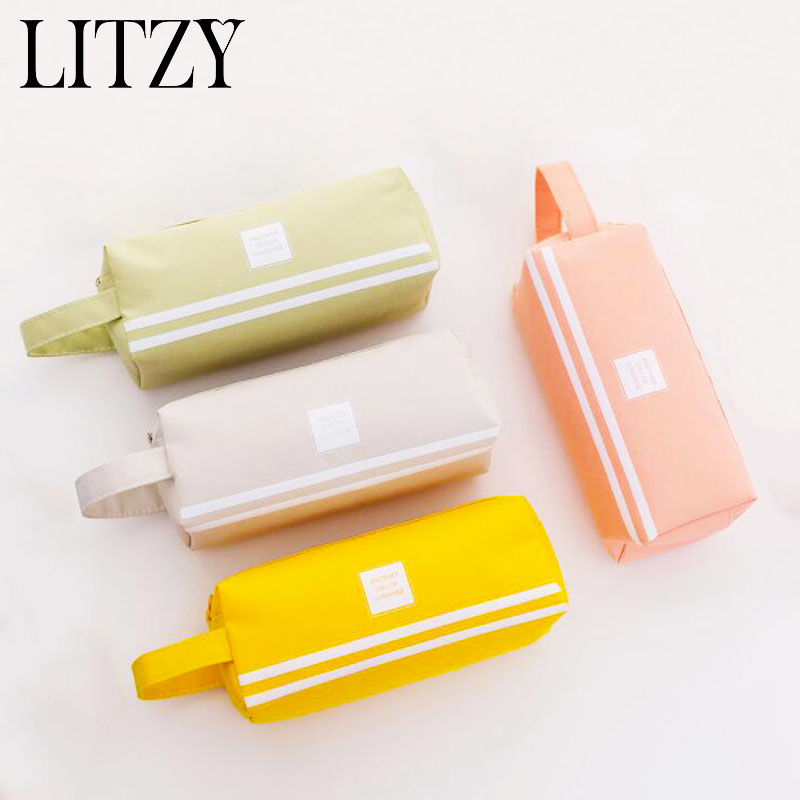 Large Double Zipper Pencil Case Cute Clear PencilCase Kawaii Bag School&Office Stationery Supplies for Girls Leather Pencil Box kawaii big zipper pencil case for school stationery supplies cute cartoon animal large capacity pencilcase storage organizer bag