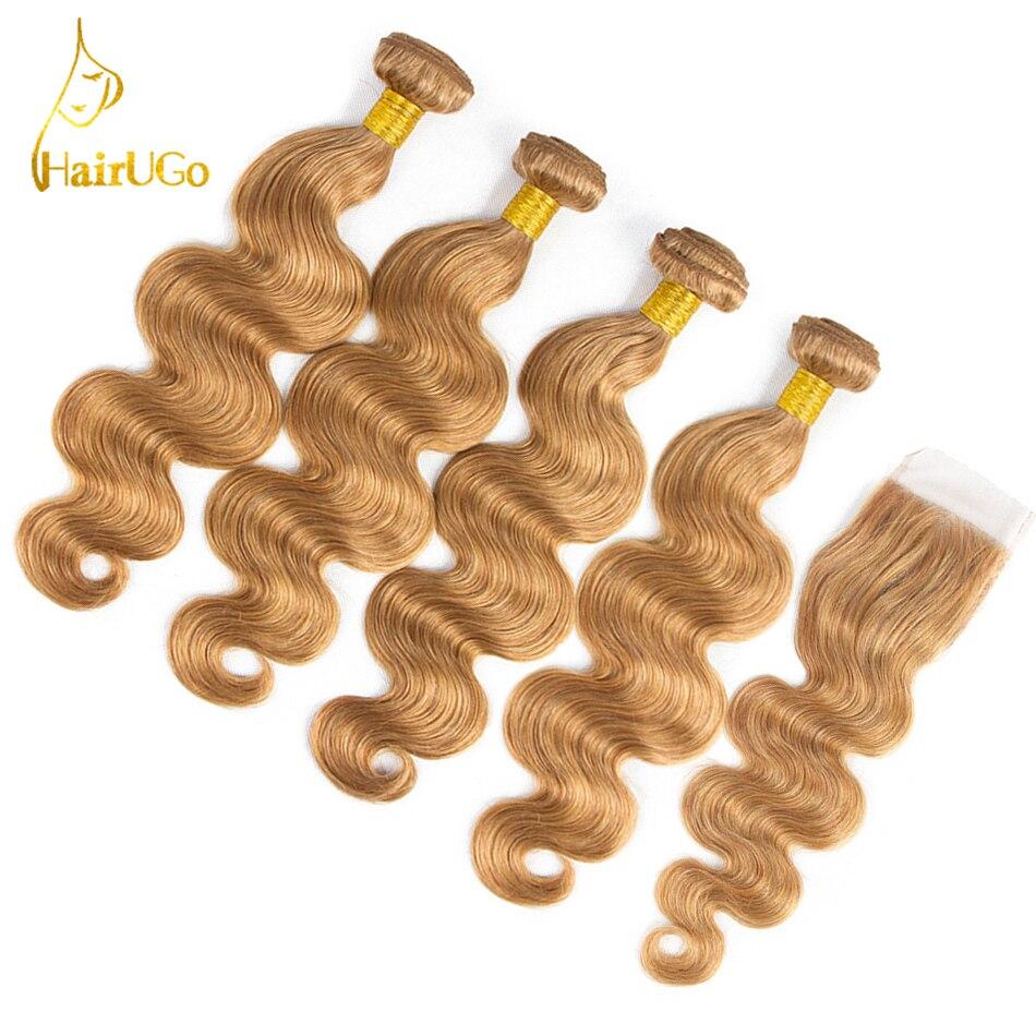 HairUGo Hair Pre Colored Peruvian Body Wave Bundles Non Remy Blonde 4Bundles With Closure Human Hair
