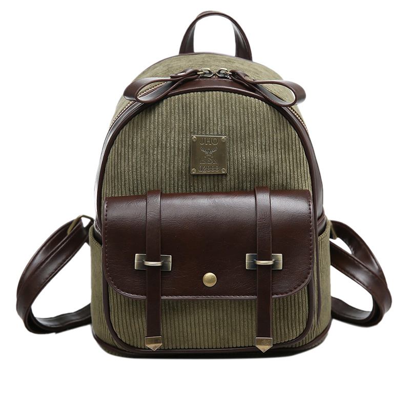 UNstyle New Retro Corduroy Bags Female Cute Mini Backpack Vintage Personalized Corduroy Panelled Backpacks Travel Bags