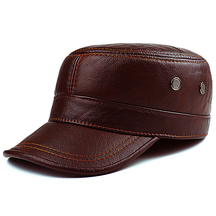Men's Genuine Leather Hat Adult New Cowhide Hat Male Outdoor Warm Flat Leather Hat Winter Casual Leather Cap Adjustable B 8386-in Men's Baseball Caps from Apparel Accessories
