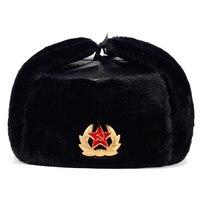 شارة عسكرية للجيش السوفياتي روسيا Ushanka قبعات منفوخة للطيارين قبعات استروبر شتوية من فراء الأرانب
