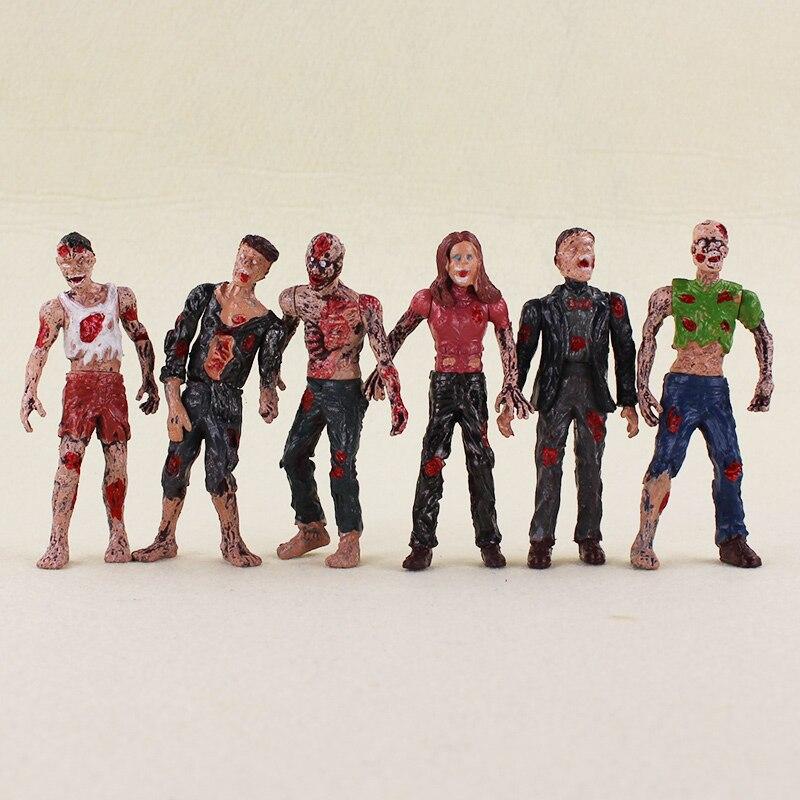 6pcs/lot 10cm The Walking Dead Zombie Action Figures Toys Dangerous Terror Corpse Models Dolls Toys Brinquedos Kids Toys