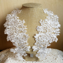 ФОТО ivory sewing floral flower motif venise lace applique ,wedding bridal embroidery lace patch,5pairs/lot, free shipping(2014ap01)