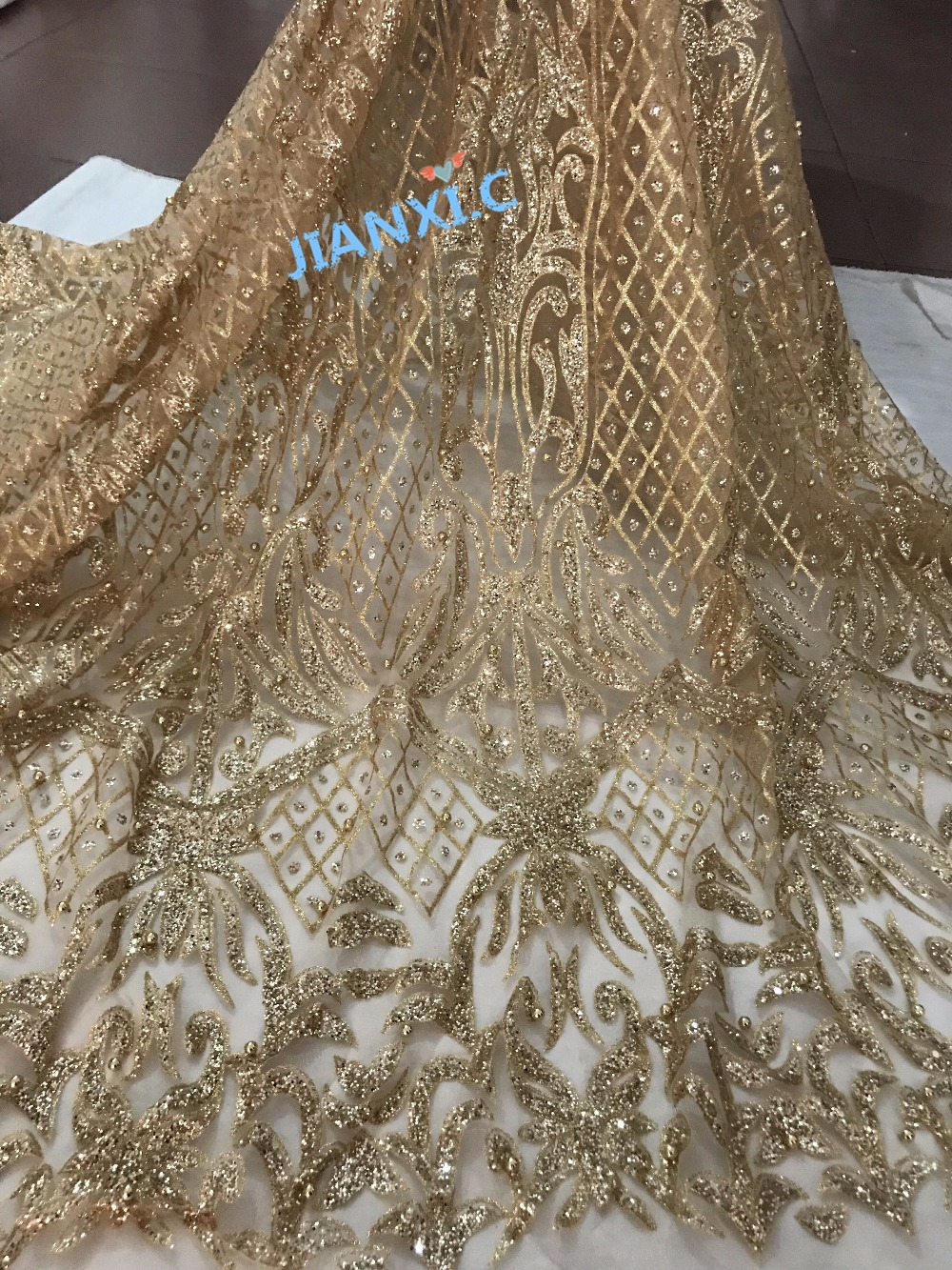 top selling beaded Hand print glued glitter mesh tulle african lace fabric JIANXI C 11819 for