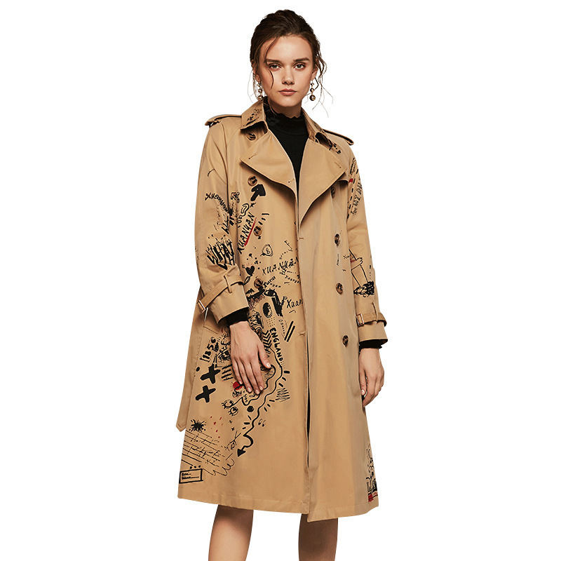 WQJGR 2019 Autumn And Winter Trench Coat Women Long Sleeve Printing Windbreaker Trench Femme