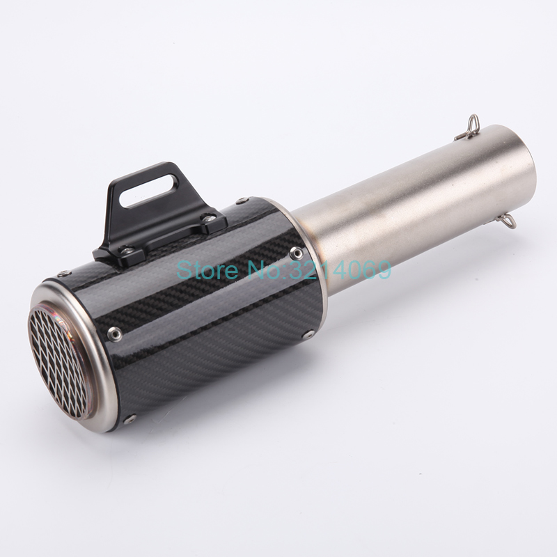High Quality Titanium Alloy Akrapovic Motorcycle Exhaust Pipe Muffler Damper Escape ID: 61.5mm Length: 373mm