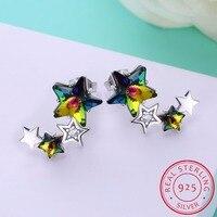 Luxury 925 Sterling Silver Earrings Shiny Star Stud Earrings Female Classic Double Crystal Earrings For Women