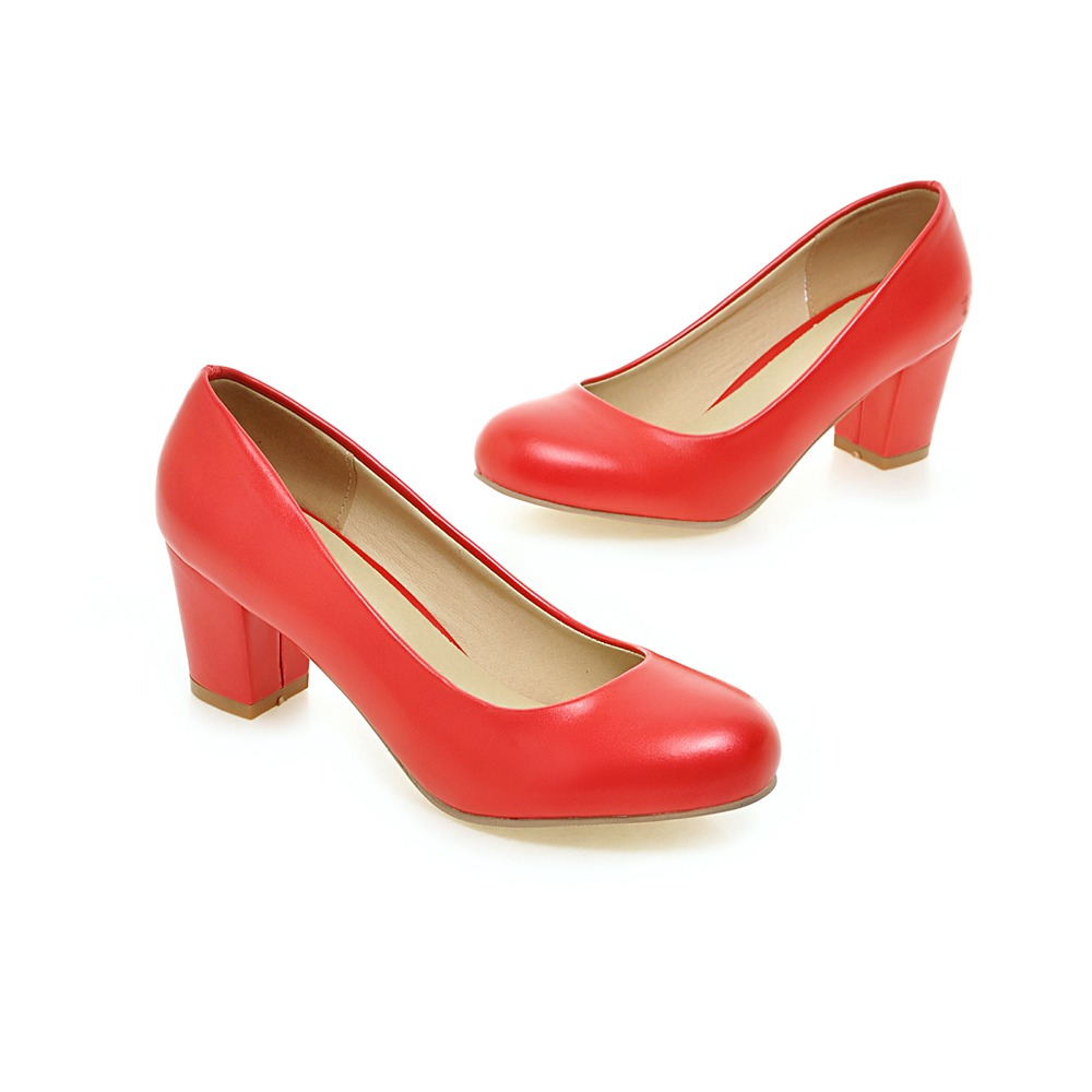 ФОТО Comfortable Pu Leather Women Shoes Low Heels Sexy Pointed Toes Square Heel Spring Autumn Shoes For Ladies Size EU34-43