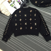 Hot Sale Cotton Wool 2018 Spring New Women's Sweater Heavy Diamond Water Bead Straps Hollow Stars Shiny Pullover Women