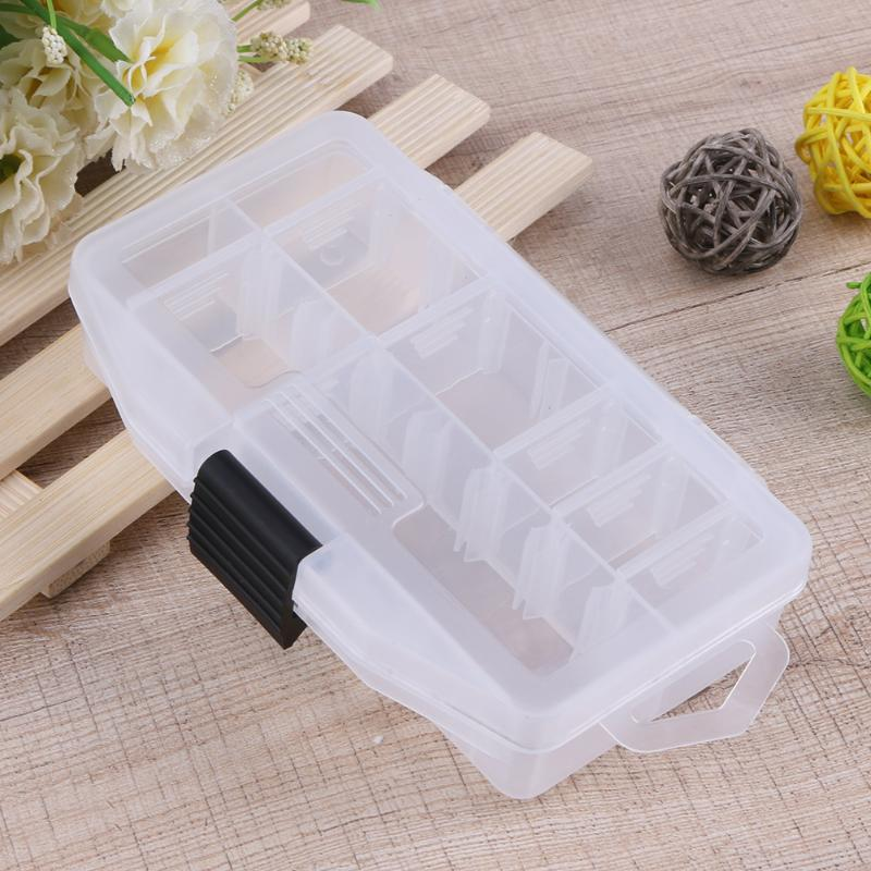 Adjustable 16 Compartments Transparent Visible Fishing Lure Tackle Box Portable Plastic Fishing Lure Hook Storage Case 15*9*3cm