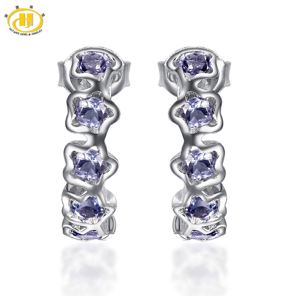 Hutang New Fashion Natural Tanzanite Flower Earrings Solid 925 Sterling  Silver Gemstone Fine Jewelry Women's Mother's