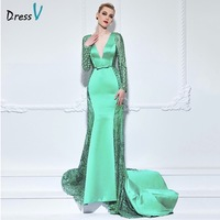 Dressv Blue Green V Neck Mermaid Long Evening Dress Long Sleeves Sequins Trumpet Bowknot Celebrity Dress