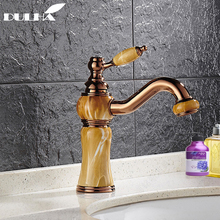 Brass Bathroom Basin Sink Faucet Torneira Jade Body With Marble Mixer Taps Full Copper Top-grade Golden Finish Lavatory Faucets basin faucets marble with jade bathroom taps 3 hole classic home decoration lavatory crane hot and cold mixer faucet ay 13015