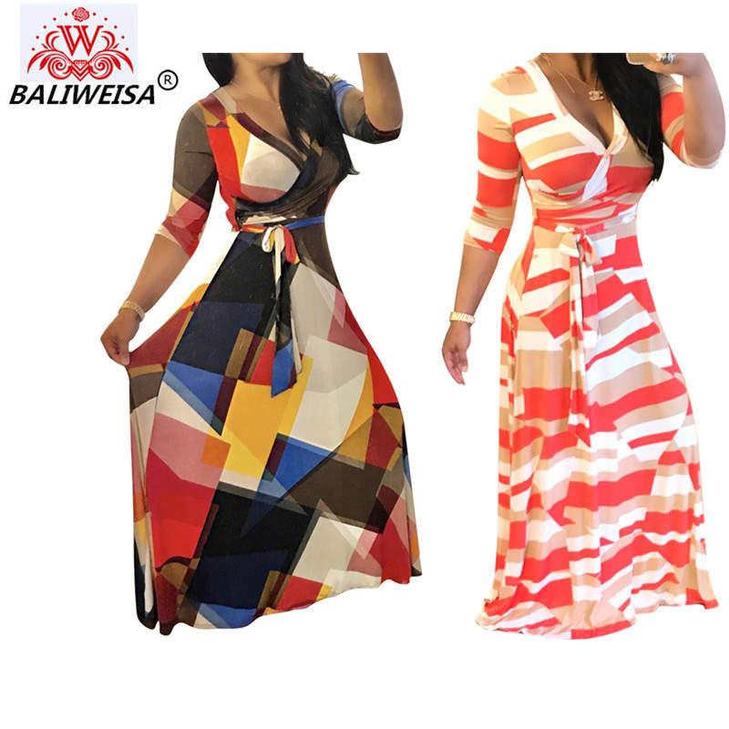 BALIWEISA2017 Comfortbale 3D Mosaic Print Slim V Neck Long Sleeve Ladies High Waisted Dress With Bow Tie Sash Size S M L XL XXL