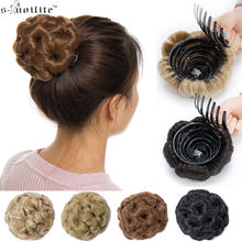 S-noilite Hair Women Curly Chignon Hair Bun Donut Clip In Hairpiece Extensions Synthetic High Temperature Fiber Chignon cheveux(China)
