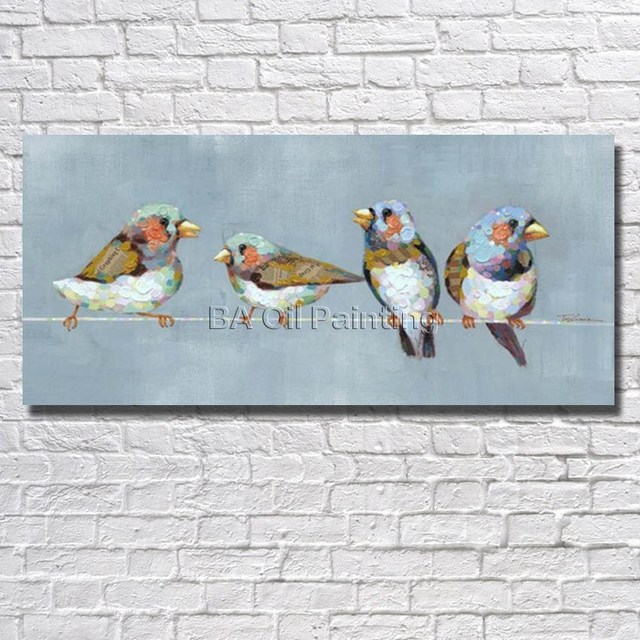 Grande 100% uccelli dipinti a mano quadri dipinti su tela astratta ...