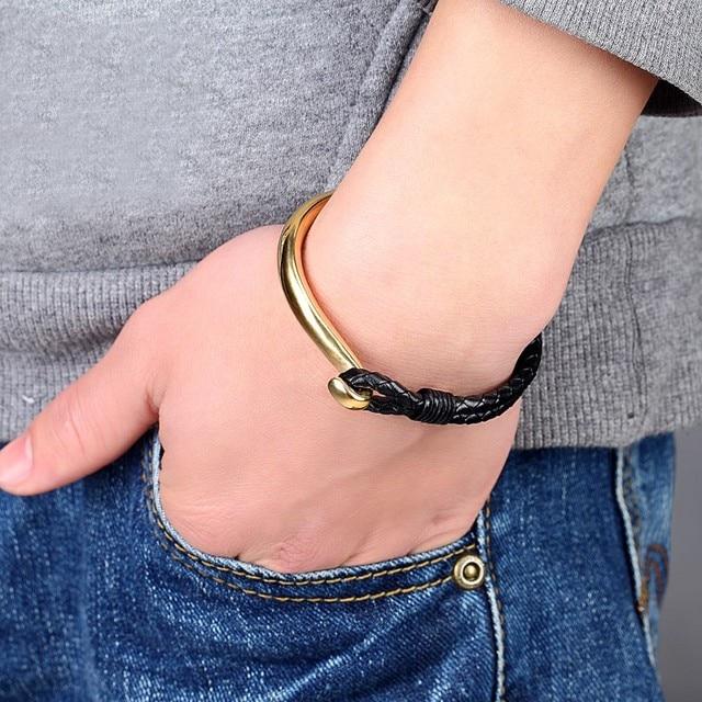 браслет janeyacy из нержавеющей стали для мужчин кожаный шнур фотография