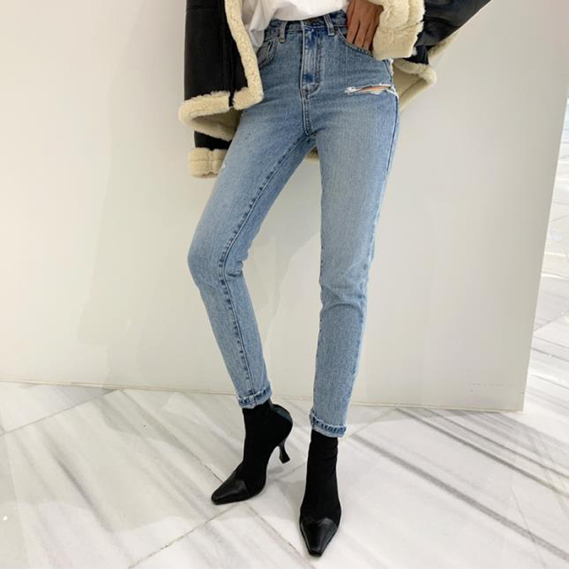 Spring Summer Ripped Holes Stretch Women Denim Jeans High Waist Female Trousers Pants Capris Female Skinny Pencil Jeans 2019