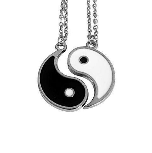 Lovers Enamel Yin Yang Necklace Pendant Best Friends Black White Couple Paired Charms Choker Necklace Man Women Jewelry Gift NEW