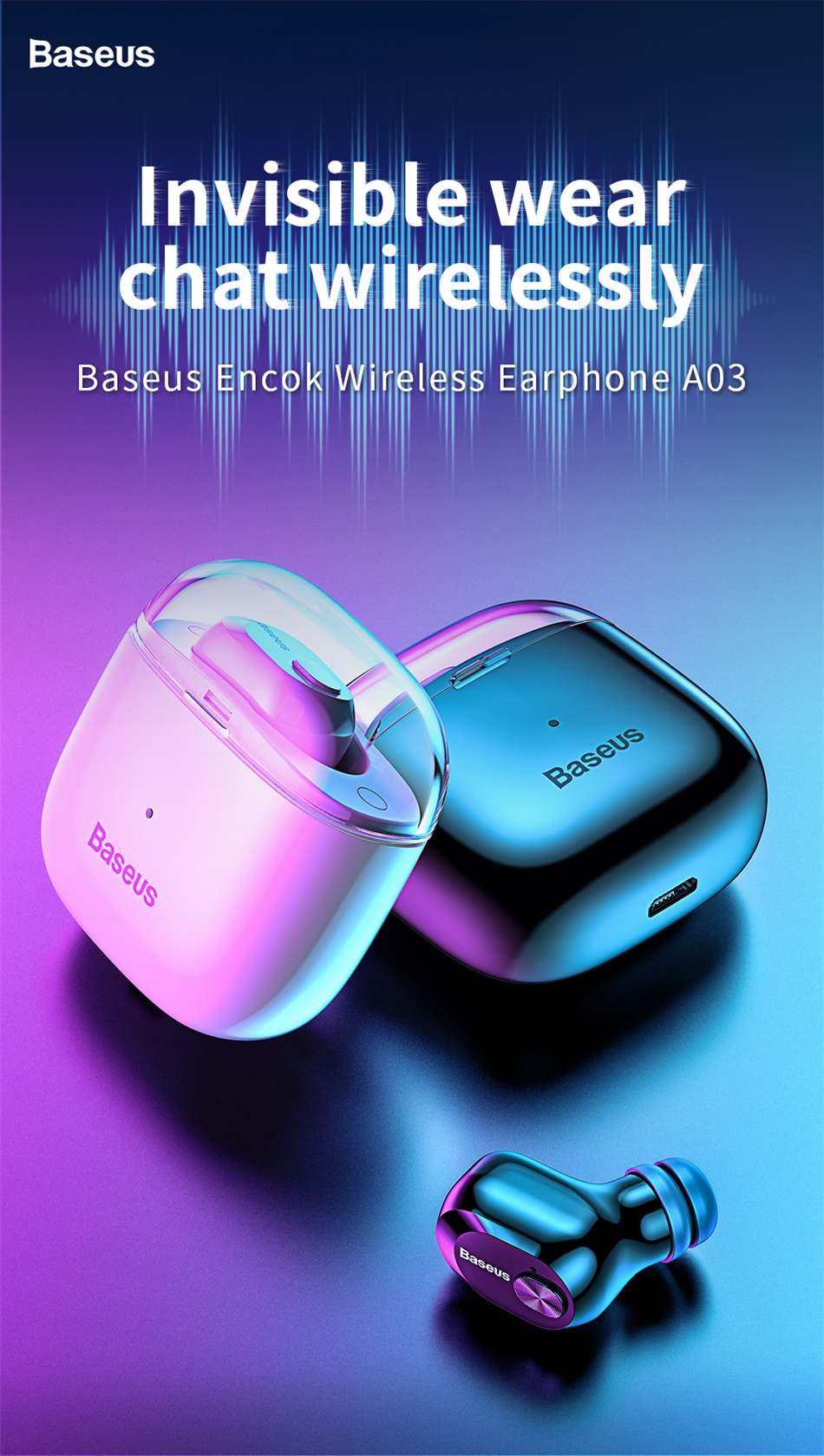 Baseus A03 Business Bluetooth Earphone Mini Portable Single TWS Wireless Earphone With Mic