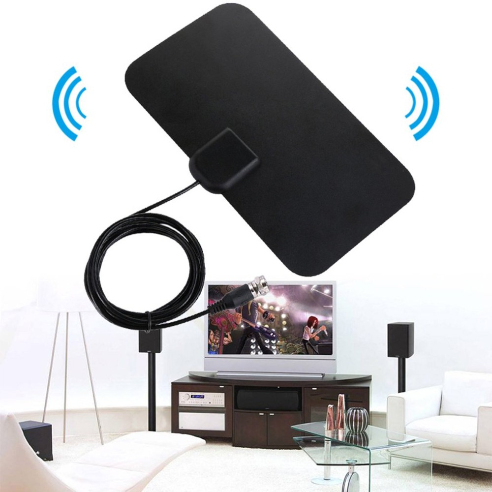 Small Size Ultra Thin Flat Indoor Antenna Aerial HDTV Digital TV Antanna Aerial 25DB Gain Wall Table Antenna Black
