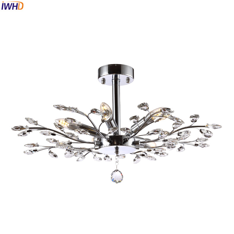 IWHD K9 Modern Crystal LED Ceiling Light Fixtures Stainless Bedroom Living Room Lights Lustres De Sala Cristal Lamparas