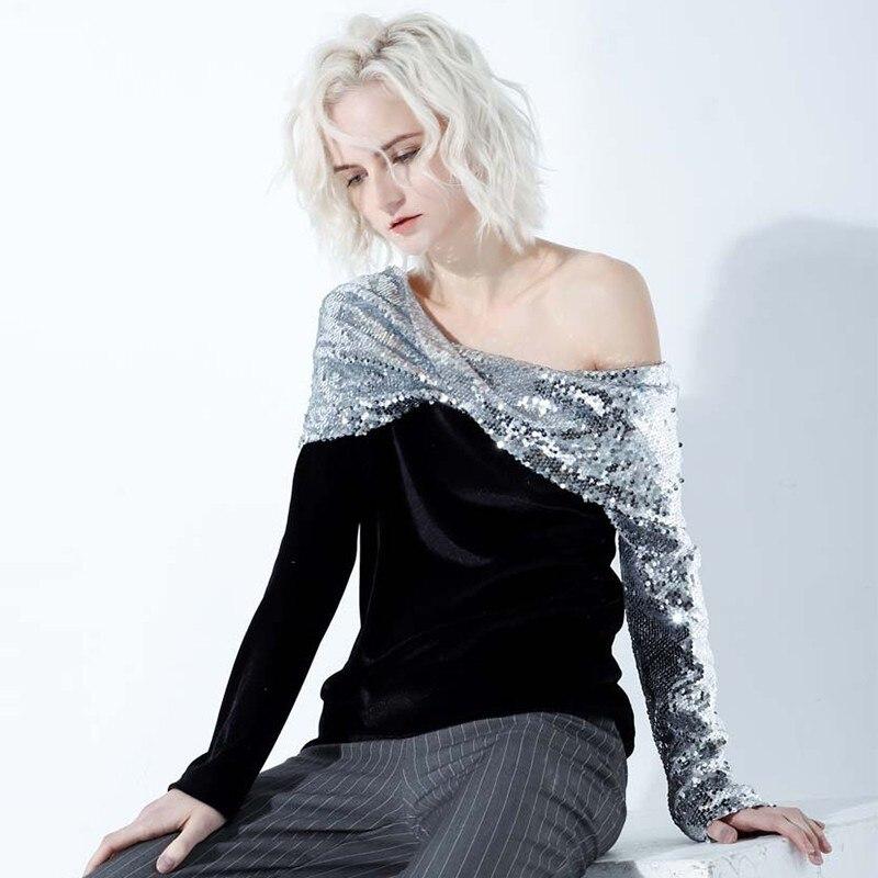 Patchwork Paillettes 2019 Printemps Longues Femelle Irrégulières Manches Pour Dénudées Épaules Hauts À Mode Femme Velours ZaIqH