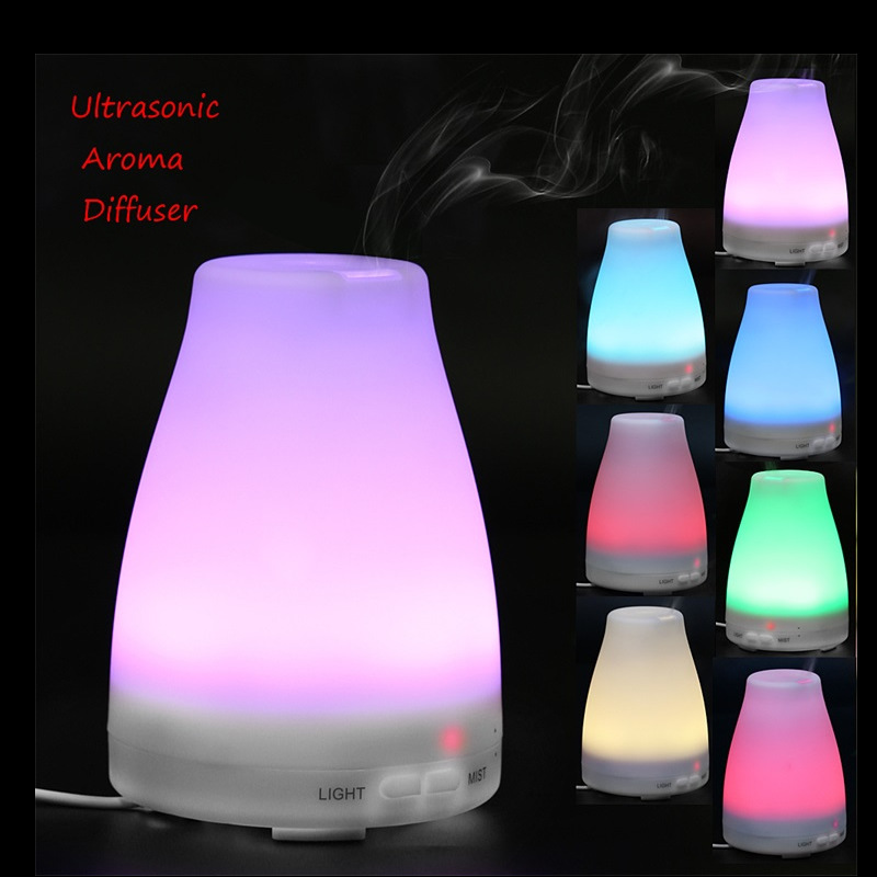 цена Household Humidifier Aromatherapy Oil Diffuser Cool Mist With Color LED Lights Essential Oil diffuser Waterless Air Humidifiers