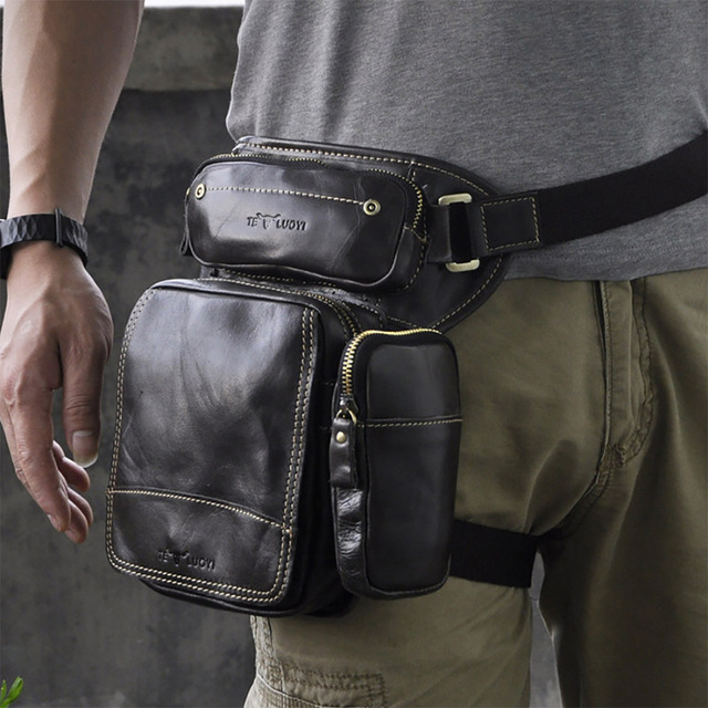Crazy Horse/Oil Wax Cowhide Military Waist Bag Men Motorcycle Rider Drop Leg Bags Genuine Leather Male Hip Bum Fanny Belt Pack