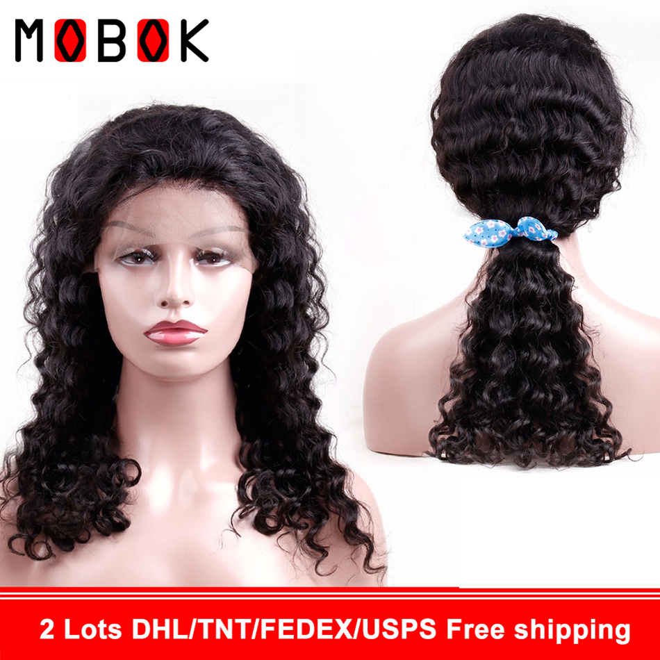 Mobok 360 Brazilian Deep Wave hd lace frontal Wig with Baby hair Remy 150% Density Lace Front Human Hair Wigs For Black Women(China)