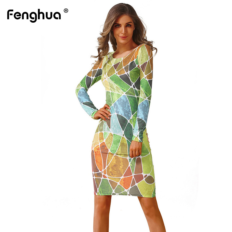 Fenghua Spring Winter Dress Women 2019 Casual Plus Size Long Sleeve Office Bodycon Dress Female Sexy Club Evening Party Dresses