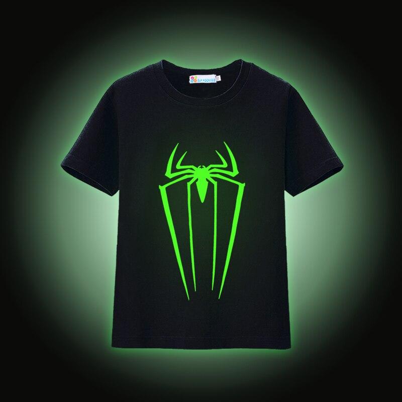 Sun Moon Kids Luminous T-Shirt Novelty Short Sleeve Tees Unisex Cotton Summer Girls Clothing Night Shining Boys T-Shirts