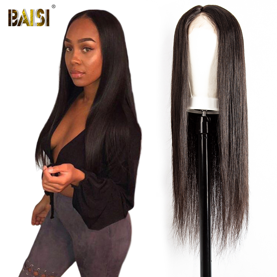 BAISI Brazilian Straight Hair Lace Front Human Hair Wigs Full Lace Wig with Pre Plucked 360