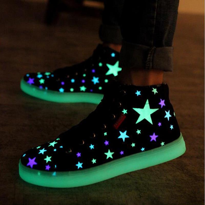 Fluorescente Zapatos de 2016 Nueva Luz de la Llegada Para Adultos Hombres moda Zapatos de lona