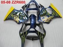 Литье под давлением обтекатель комплект для Kawasaki Ninja ZZR600 2005 2006 2007 2008 желтые языки пламени синий Обтекатели ZZR600 05 06 07 08 TW49