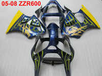 Injection molded fairing kit for Kawasaki Ninja ZZR600 2005 2006 2007 2008 yellow flames blue fairings ZZR600 05 06 07 08 TW49