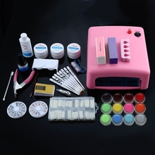 Manicure Kits Professional 36W White Cure Lamp Dryer UV Gel Nail Tools Full Set Kit цена