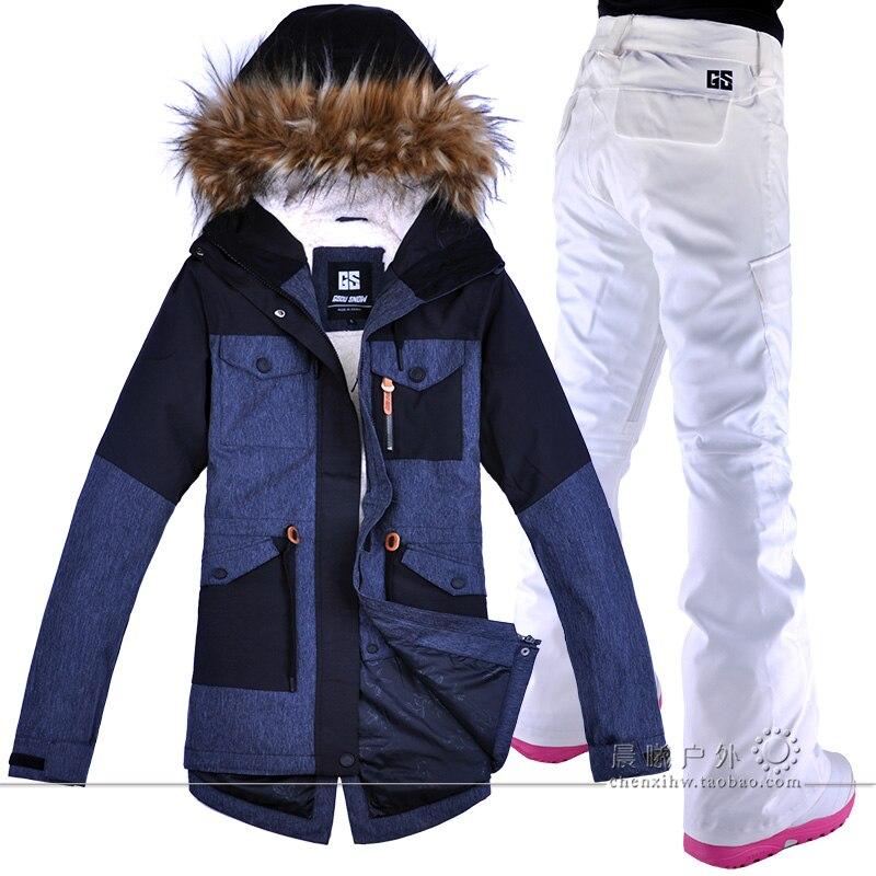 GSOU SNOW coupe-vent et imperméable femme veste + pantalon ensembles nouveau Ski costume femmes en plein air imperméable alpinisme col poilu
