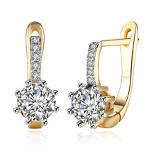 Garilina Fashion jewelry 2019 New romantic white Austrian crystal charm Stud earrings gold ear for women Wholesale E2186(China)